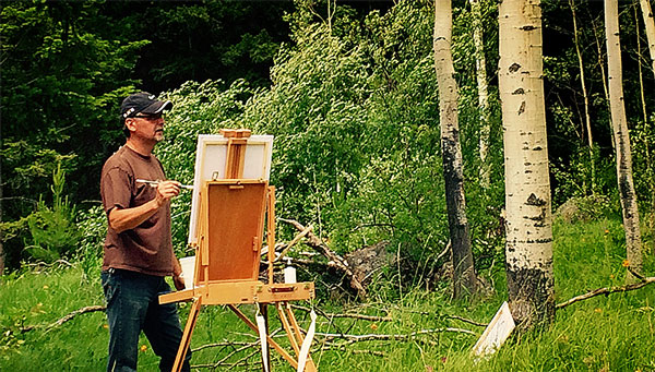 Fred Paulson painting at Horse Lake